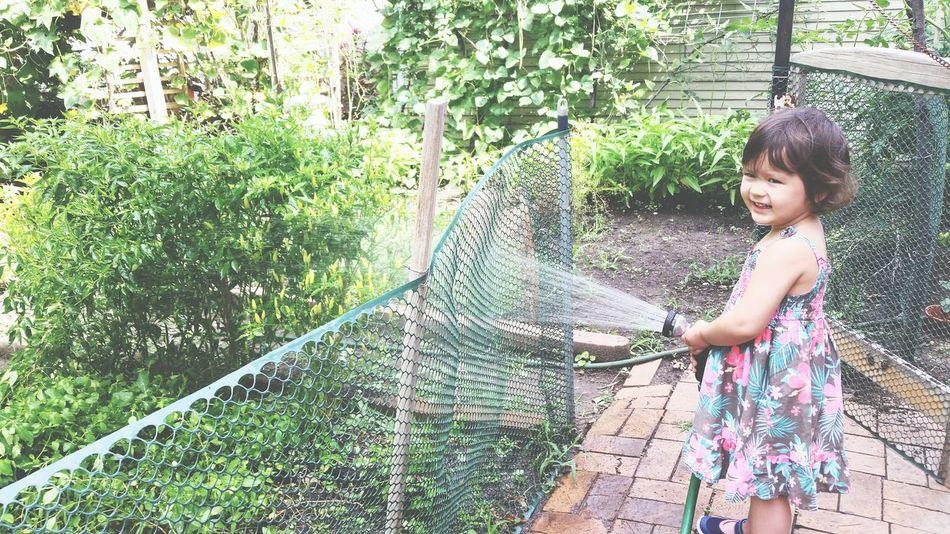 Little girl tries to keep the green in the back Flowers,Plants & Garden HAPA Kids Irrigation Gogreen Summer2015 Enjoying Life Asiangarden