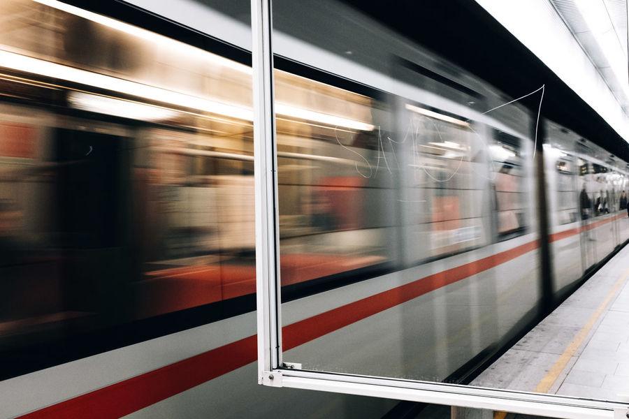 Mirrors Mirror Railroad Station Passenger Train Speed Motion Indoors  Long Exposure Commuter Train