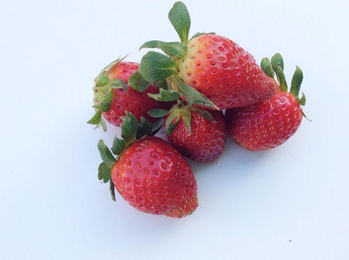 Strawberry Red Strawberries Fresh Freshness Red White Background Isolated