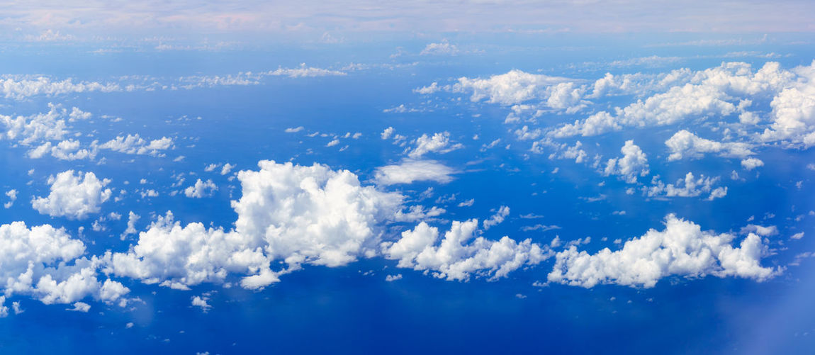Aerial view of clouds in blue sky