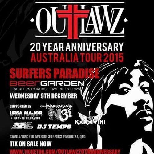 Ursa Major & myself have been blessed with being one of the support acts for The Outlawz : Tupacs 20th Anniversary Australia Tour. We are on the Gold Coast show & cant wait to bless the stage again. DM me for tickets! Outlawz Tupac 2pac Oldschool Rap Ursamajor Nikkarachi