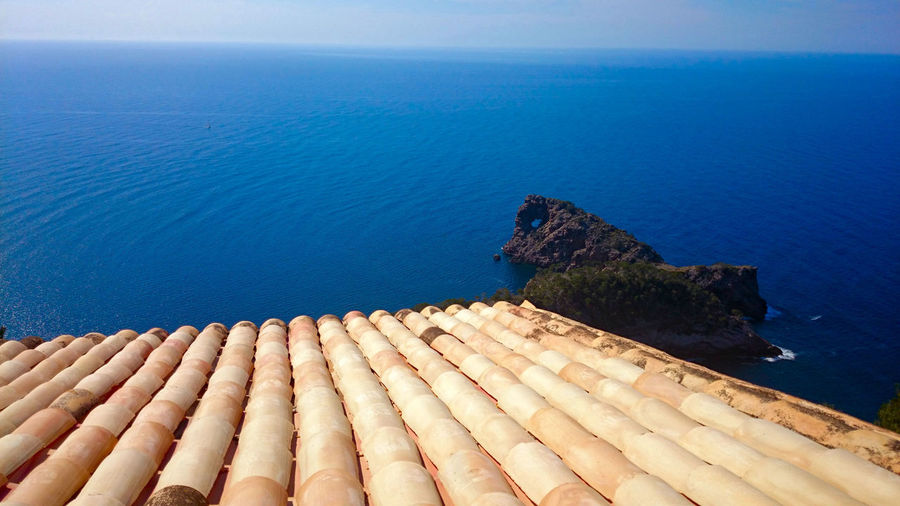 Blue High Angle View Horizon Over Water Mallorca No People Rock Formation Rooftop Sea Sky Water
