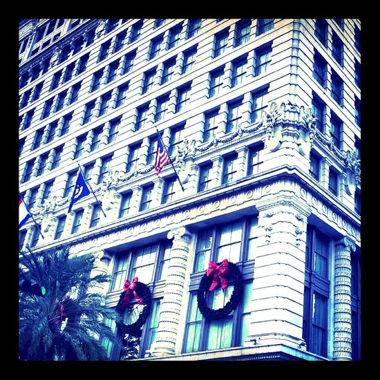 Architecture Windows Taking Photos Blue Building Flag Red Palm Trees White New Orleans Bows