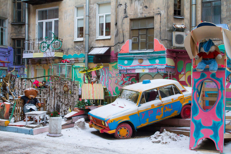 Small tribute to local artist with nickname Nelson, who transformed dull yard with crumbling buildings to alive colorful place Oldtoys Petrogradskaya District Saint Petersburg Wintertime Yard Art Building Exterior Colorfull Colorplay Crumbled Designed Funplace Oldcar Streetphotography Urbanlife Urbanliving
