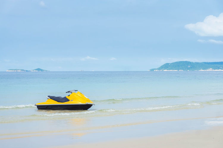 jet boat on shoreline Water Sea Nautical Vessel Transportation Scenics - Nature Beauty In Nature Mode Of Transportation Nature Day Land Beach Horizon Over Water Cloud - Sky Horizon Outdoors Waterfront Jet Boat Sky Shoreline Jet Ski Boat Seaside Seascape Travel Thailand Travel Destinations