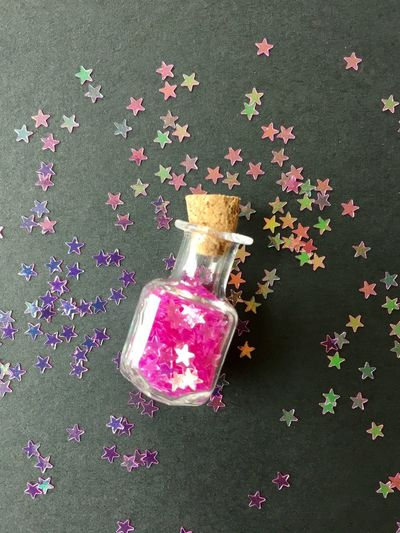 Pink stars bottle Glitter Stars Hotpink Fuchsia Pink Macro Closeup Glass Jar Cork Little Bottle Tiny Vintage
