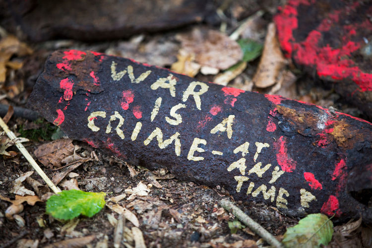 Crime Message To The World No War Statement Close-up Communication Day Emotion Focus On Foreground High Angle View Land Leaf Message Nature No People Outdoors Pattern Plant Plant Part Red Rusty Metal Selective Focus Solid Text War Is A Crime
