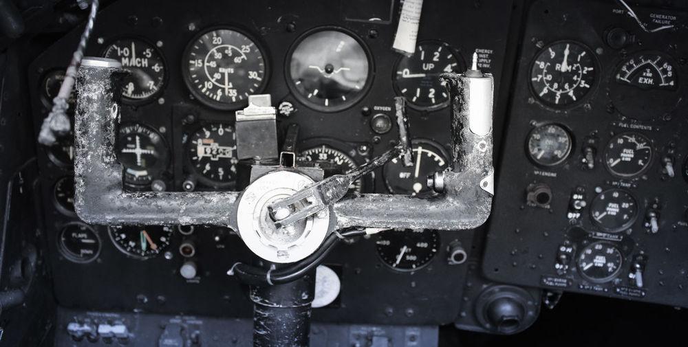 Speedometer of old airplane