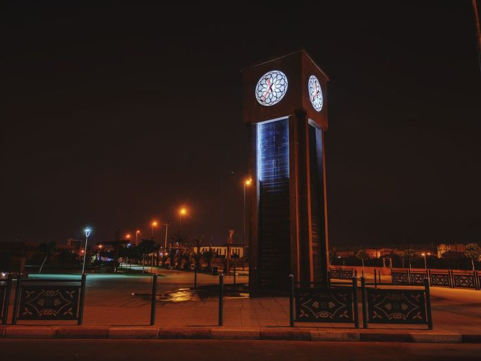 Clock Morocco MoroccoTrip Builing Lighted Structure Building Exterior Place Public Places P20prophotography P20pro Laayoune Laayounemorocco Light Light And Shadow Lowlight Lowlightphotography Nightphotography City Illuminated Nightlife Neon Sky