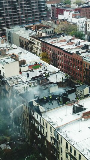 Aerial View New York City Firemen At Work