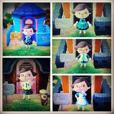 Dress up time! Animalcrossing Newleaf 3dsxl Mikuhatsune hatsunemiku vocaloid japanese schoolgirl maid dresses qr cool awesome customdesign cosplay dressup