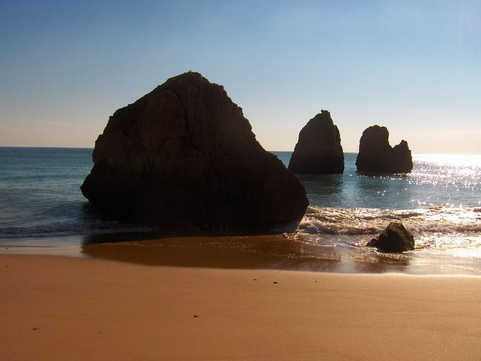 Algarve Beach Beauty In Nature Clear Sky Cliff Coastline Horizon Over Water Idyllic Nature Portugal Rock Rock - Object Rock Formation Sand Scenics Sea Shore Sky The KIOMI Collection Tranquil Scene Tranquility Water Wave