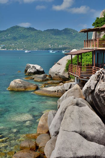 Ocean view bungalow. Koh Tao. Surat Thani province. Thailand Koh Tao Koh Tao,Tao Island,Southern Thailand Thai Thailand Amazing Thailand Southeastasia Southeast Asia Surat Thani Province Chumpon Archipelago Gulf Of Thailand Luxury Luxury Hotel Luxury Lifestyle Bungalow Bungalow On The Beach Boulder Boulders Beach Coastline Coast Water Rock Rock - Object Sea Scenics - Nature Nature No People Architecture Beauty In Nature Tranquil Scene Outdoors Tranquility Built Structure Cloud - Sky Travel Destinations Tropical Island Tropical Paradise