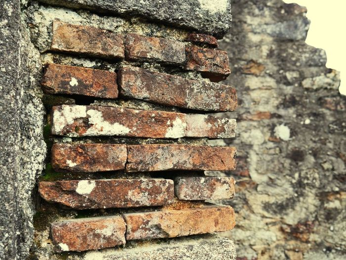 Close-up of abandoned house wall