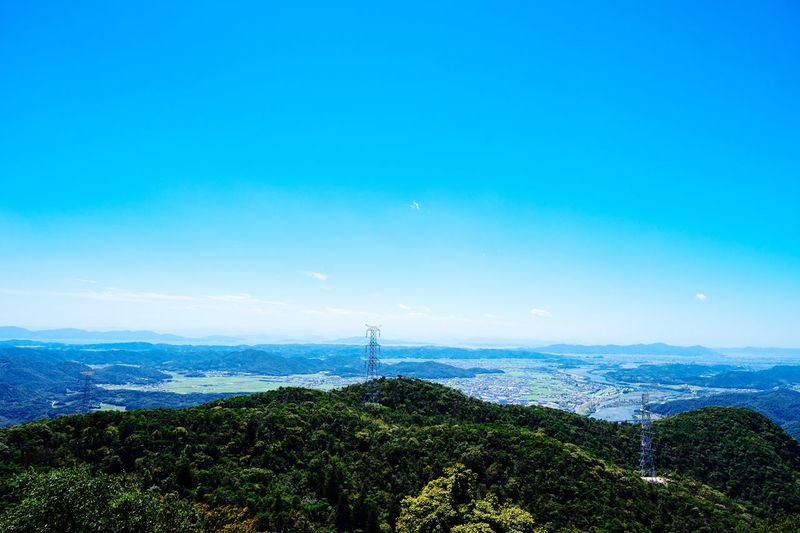 The Color Of The Sky Universe Clear Sky Sky Blue Sky Blue Tree Mountain Beauty In Nature Summer Colors Okayama Okayama,Japan Green Color Landscape EyeEm Best Shots - Landscape Viewpoint Top Of The Mountains Power Line  Tower