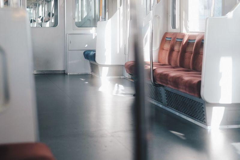 Interior of empty metro train