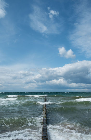 Baltic Sea Beauty In Nature Blue Cloud Cloud - Sky Cloudy Day Horizon Over Water Idyllic Nature No People Non-urban Scene Ocean Outdoors Rippled Scenics Sea Seascape Shore Sky Tranquil Scene Tranquility Water Wave Wooden Post
