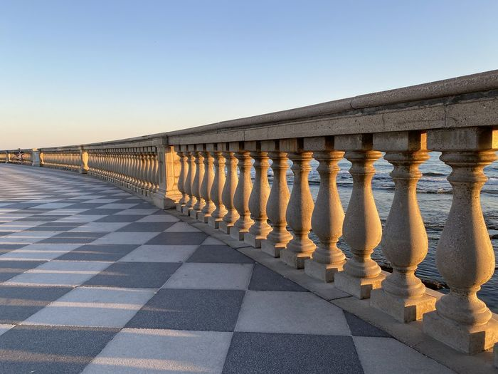 View of railings against clear sky