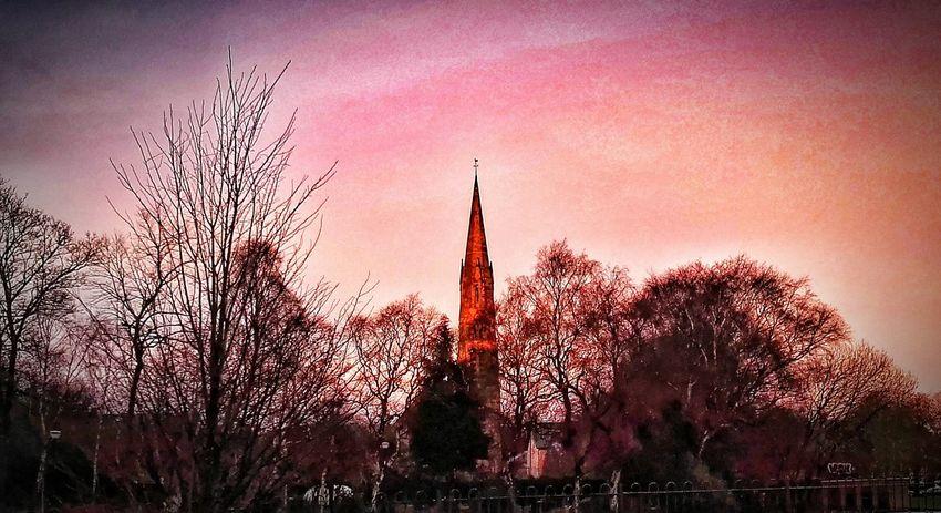 Sunset Churchspire Painterly