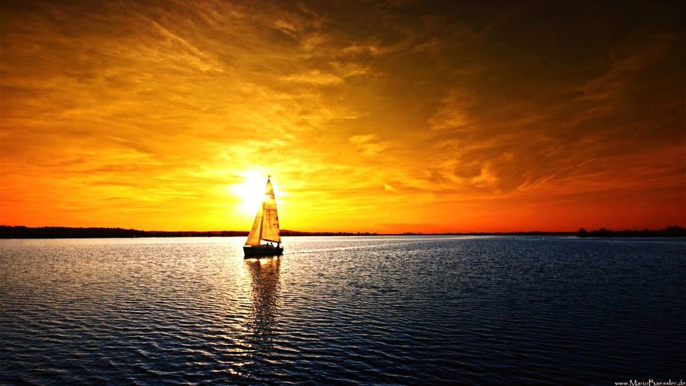Paint The Town Yellow Sunset Reflection Sea Cloud - Sky Dramatic Sky Sky Nautical Vessel Horizon Over Water Water One Person Nature One Man Only Only Men People