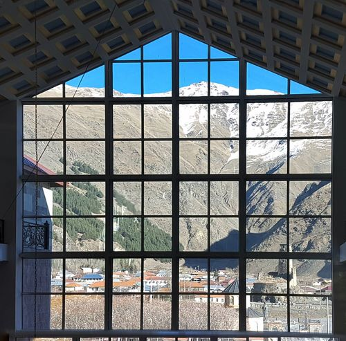 #Mountain #sno #Georgia Window Glass - Material Indoors  Architecture Built Structure Day No People Sky