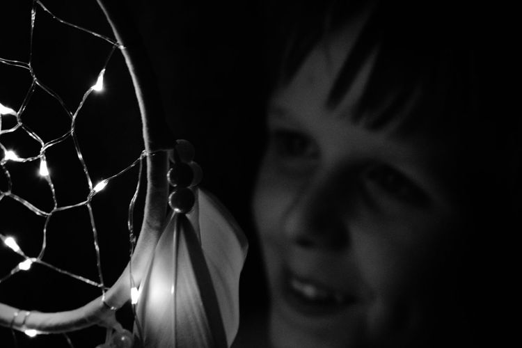 Child Boy Beautiful Dream Be Happy Dream Big Dreamcatcher Happiness Happy Blackandwhite Black Background Close-up Thinking