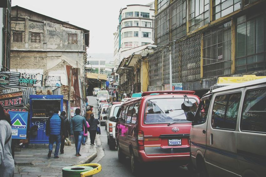 Building Exterior Architecture Built Structure City City Life Car Transportation Large Group Of People Land Vehicle Mode Of Transport Street Men Lifestyles Person Auto Post Production Filter Walking Leisure Activity City Street Road Rush Hour La Paz La Paz, Bolivia BOLIVIA ❤ Bolivia