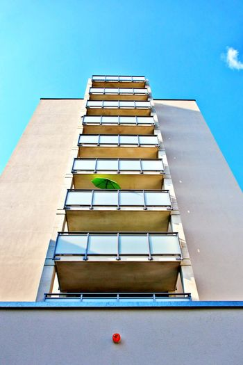 Architecture Low Angle View Building Exterior No People Clear Sky Tall - High Modern Office Building Exterior Directly Below Apartment City Built Structure Balconies Colors In Grey Summer Sunshade
