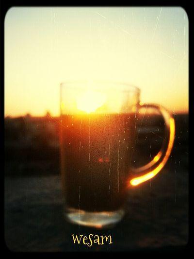 Sunset Nescafe Sun Set On Glass Enjoying Life