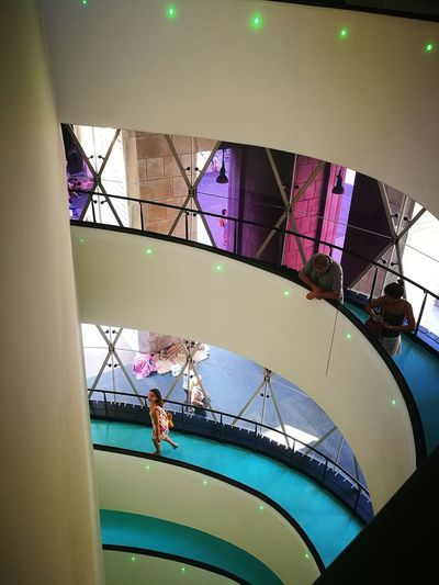 Third perspective Museum Museum Of Modern Art Museo Museo Del Novecento Museo Del Novecento Milano Italy Arts Culture And Entertainment Duomo Piazza Del Duomo Piazza Del Duomo, Milano, Italia Staircase Stairs Window Close-up Architecture Skylight Architectural Design Architectural Detail Stained Glass Colorful Spiral Staircase Directly Below