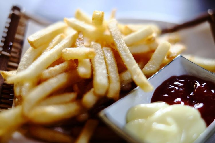 French fries Fast Food Deep Fried  Dumpling  Prepared Potato Plate Close-up Food And Drink Ketchup Mustard French Fries Fast Food French Fries Unhealthy Lifestyle