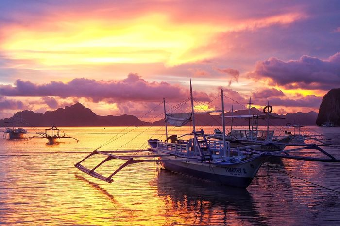 ASIA Nature Philippines Pink Sky Beach Boat Cloud - Sky Nature Nautical Vessel Outdoors Palawan Scenery Scenics Sea Sky Sunset Tranquil Scene Tranquility Transportation Travel Destinations The Week On EyeEm
