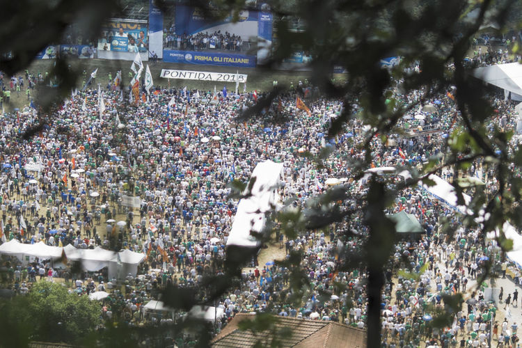 High angle view of crowd on tree