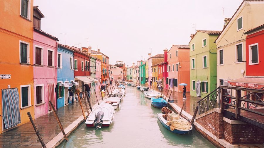 live life in color Burano Italy Travel Travel Destinations Houses Colorful Betterlandscapes Landscape_Collection EyeEm Selects Travel Destinations Gondola - Traditional Boat Canal Tourism Building Exterior Architecture Travel Multi Colored Vacations City No People Sky Outdoors