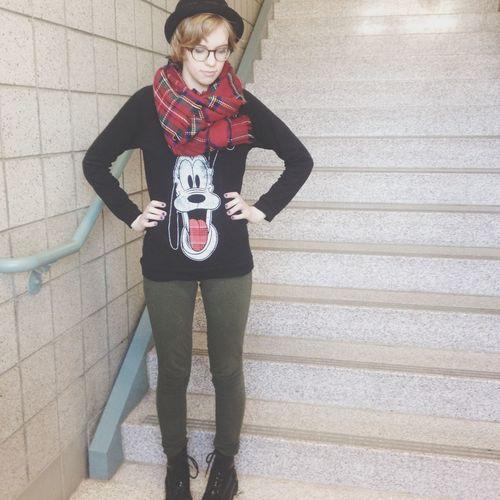 I look kinda Christmasy today Hannah Jones Daily Fashion Fashion&love&beauty Disney Fashion Hannah Jones Fashion Pluto Scarves Disney Disneybound Hats