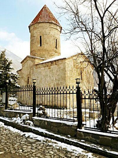 Şəki Sheki Cold Temperature Snow Religion Architecture Built Structure Outdoors Nadir Kiş Kish Məbəd Temple