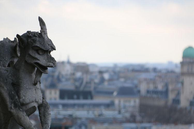 Gargoyle and cityscape against sky