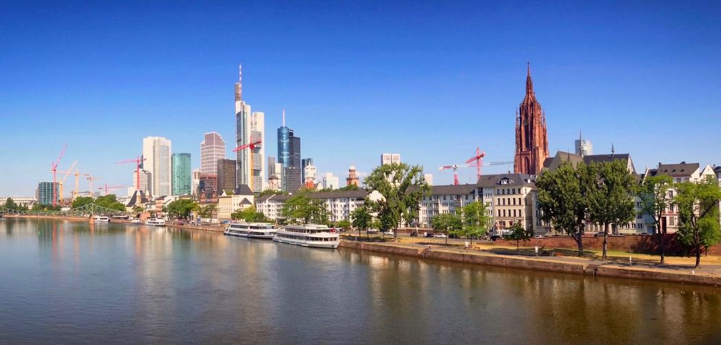Skyline of Frankfurt am Main, Germany. Blue Boats Building Exterior Buildings City City Life City Skyline City View  Cityscape Cityscapes Daylight Frankfurt Frankfurt Am Main Outdoor Ships Sky Skyline Skylines Skylovers Skyscape Skyscraper Skyscrapers Summer Water Water Reflections