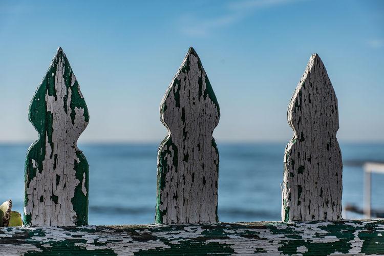 Damaged Italian Italy Old Seascape Sfocato Sfondo Sky Staccionata Wood - Material Wooden