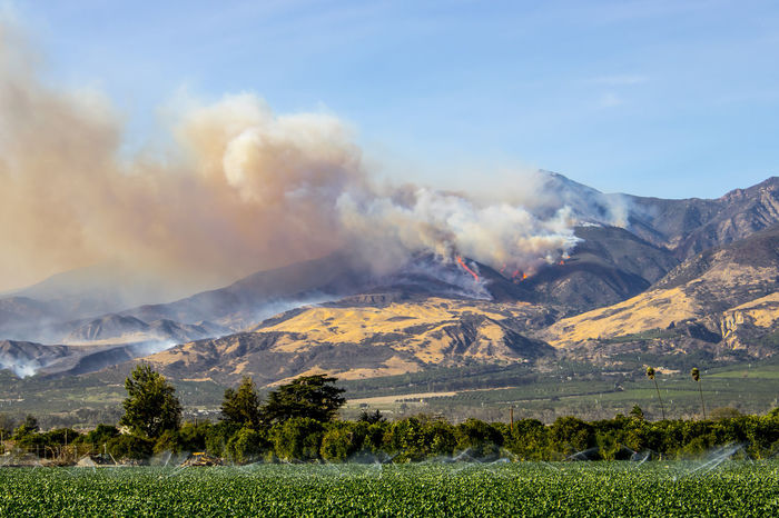 Thomas Fire burns hillside above city of Fillmore in Ventura County California Burning California Fillmore  Fire Season Flames Smoke Ventura Vista Danger Dangerous Day Fire Fighter Forest Fire Helicopters Landscape Mountain Mountain Range Nature No People Outdoors Scenics Sky Smoke - Physical Structure