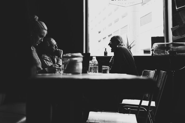 Morning catch up Blackandwhite Creative Light And Shadow Contrast Manchester FUJIFILM X-T1 Cafe Breakfast Good Mornjng