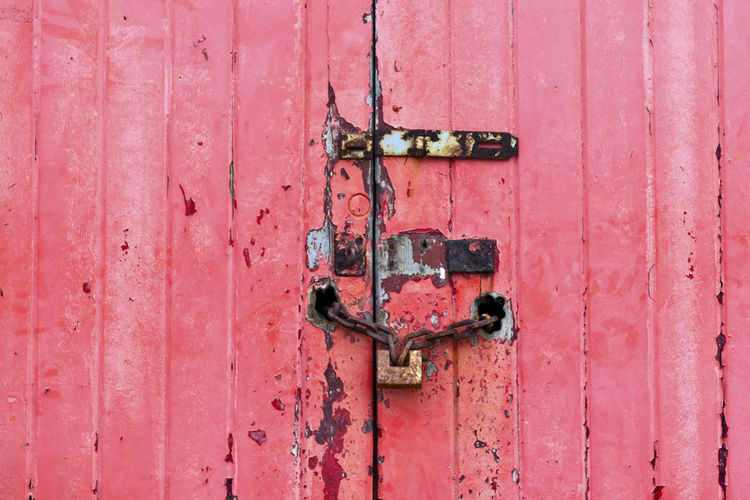 Metal Door Entrance Old Backgrounds Close-up Full Frame Safety Protection No People Rusty Security Lock Weathered Pink Color Wood - Material Day Latch Closed Outdoors Deterioration Decay