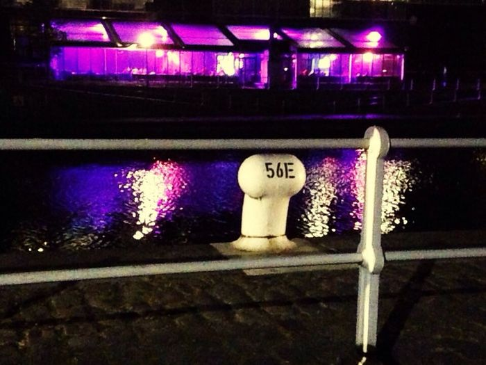 Architecture Outdoors Night No People Fluorescent Light Numbers Canal First Eyeem Photo
