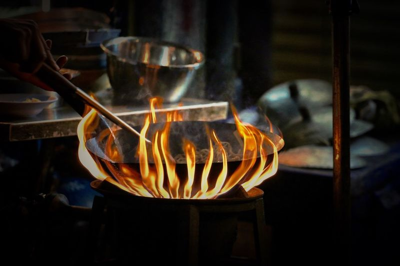 Close-up of cooking wok