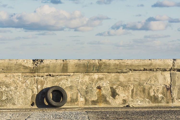 Malecon Waterfront Havana Cuba Coast Seascape Sunrise Abandoned Filth Contamination Trash Sky Tire Shore Vehicle Part Rubber