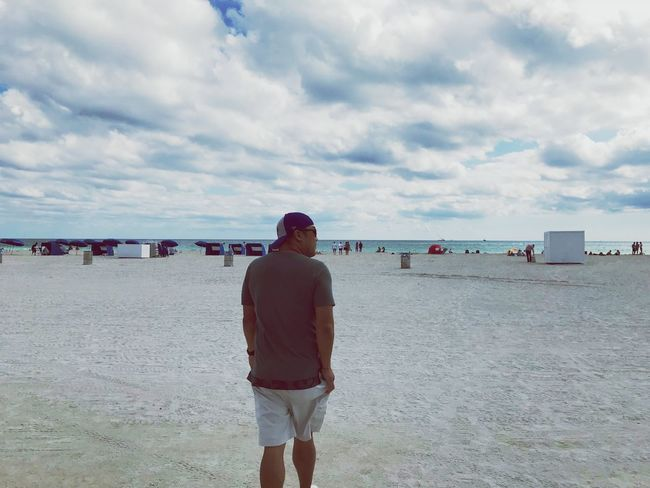 First Eyeem Photo Beach Rear View Sand Cloud - Sky Sea Only Men One Man Only Sky Day Tranquility Adults Only Adult Walking People Outdoors Southbeach Miamibeach Southbeachmiami Miami Miami Beach