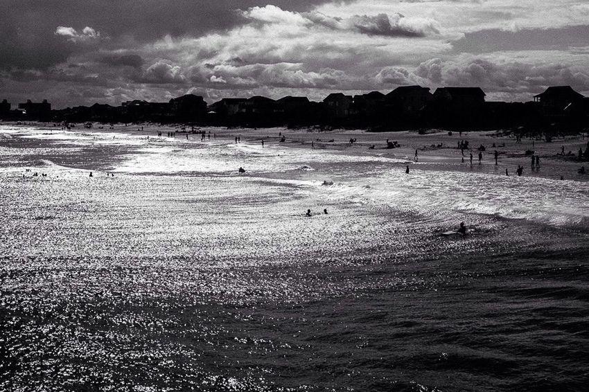 Emerald Isle,NC Emeraldisle North Carolina Pier Beach Shore Waves Silhouette Black And White Eye4black&white  Blackandwhite Photography Monochrome Light And Shadow Blackandwhite