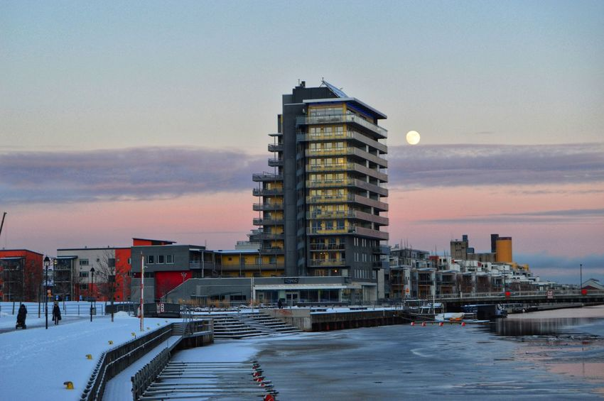 Gävlestrand Gavleån Ice Marina Moon Dawn Golden Hour Architecture Business Finance And Industry Snow Sunset Cold Temperature Winter Built Structure City Outdoors Day Building Exterior No People Sky Shades Of Winter An Eye For Travel The Graphic City