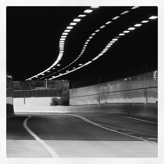 Light light up your way!! #tunnel #lights #black&white