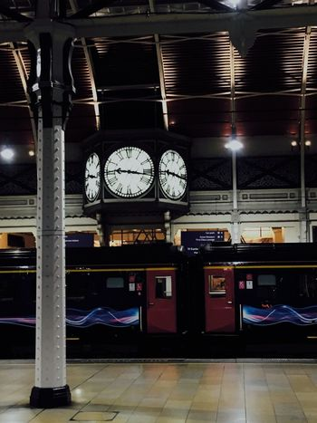 Clock Time Transportation Indoors  No People Built Structure Night Clock Face Train Tracks